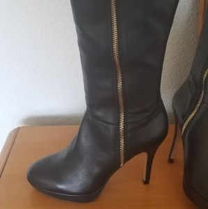 Vince Camuto Black Leather Wide Calf Boots
